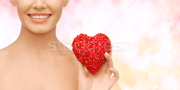 Güzel bir kadın kırmızı kalp sağlık güzellik hayır Stok fotoğraf © dolgachov