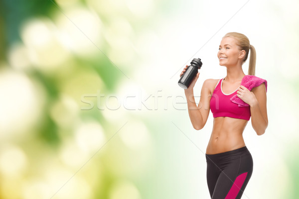 Stockfoto: Vrouw · drinkwater · fles · fitness