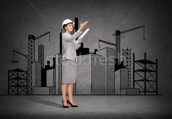 Stockfoto: Glimlachend · architect · helm · blauwdruk · gebouw · ontwikkelen
