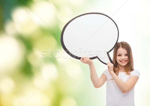 Mosolyog kislány szöveg buborék boldogság gyermek Stock fotó © dolgachov