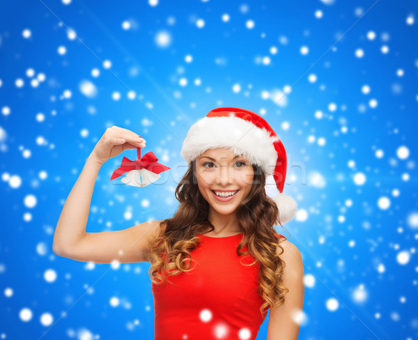 Glimlachende vrouw helper hoed christmas vakantie Stockfoto © dolgachov