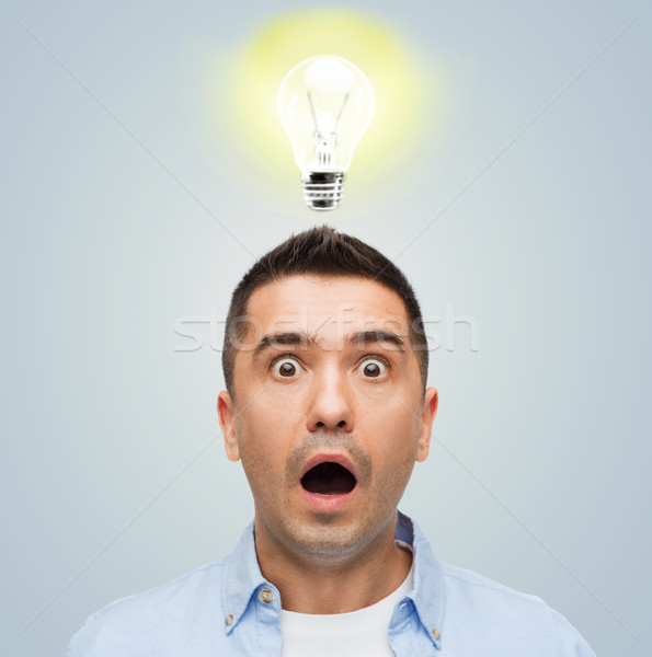 scared man shouting with lighting above his head Stock photo © dolgachov