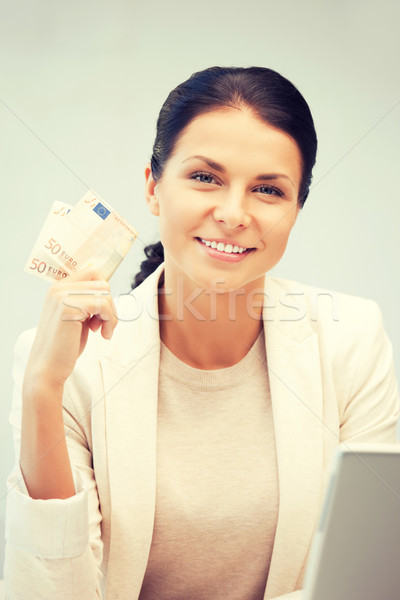 Femme euros trésorerie argent photos affaires Photo stock © dolgachov