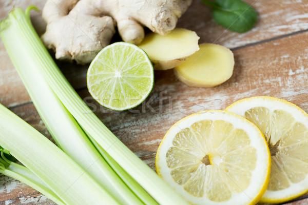 Zenzero sedano limone tavola Foto d'archivio © dolgachov