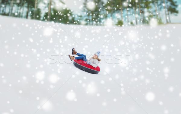 幸せ 十代の少女 ダウン 雪 管 冬 ストックフォト © dolgachov