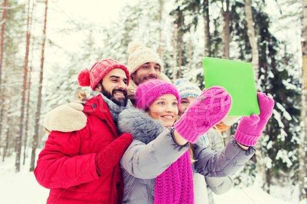 улыбаясь друзей зима лес технологий Сток-фото © dolgachov