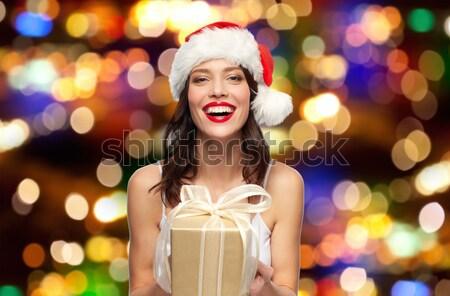 ストックフォト: 美しい · セクシーな女性 · サンタクロース · 帽子 · 赤いドレス · 人