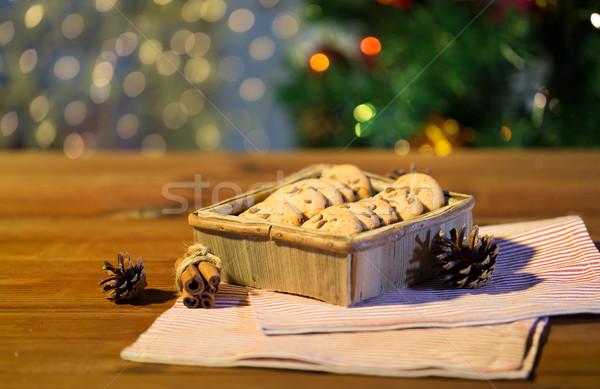 Natal aveia bolinhos mesa de madeira férias Foto stock © dolgachov