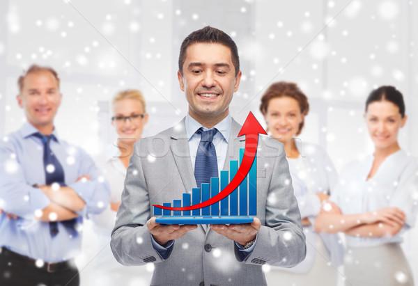 Stock fotó: Boldog · üzletember · öltöny · tart · táblagép · üzletemberek