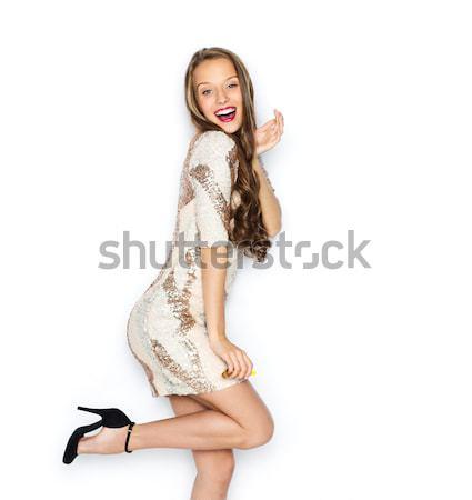 Boldog fiatal nő tinilány jelmez emberek stílus Stock fotó © dolgachov