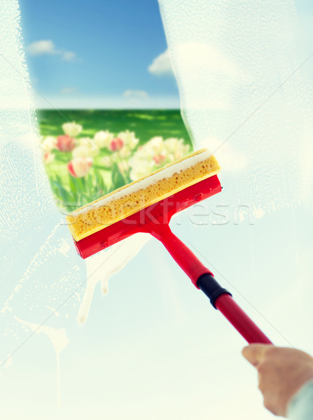 close up of hand cleaning window with sponge Stock photo © dolgachov