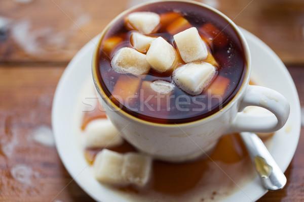 сахар чашку кофе деревянный стол нездорового питания объект Сток-фото © dolgachov