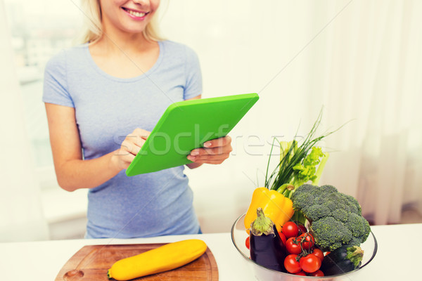 close up of woman with tablet pc cooking at home Stock photo © dolgachov