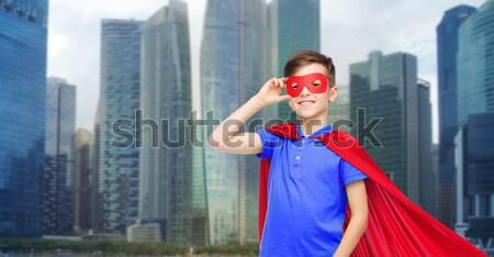 Menino vermelho máscara cidade carnaval Foto stock © dolgachov