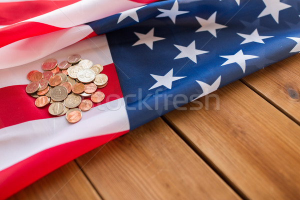 close up of american flag and money on wood Stock photo © dolgachov