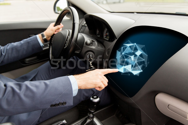 man driving car and pointing to on-board computer Stock photo © dolgachov