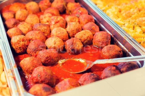 Gehaktballetjes ander gerechten dienblad voedsel Stockfoto © dolgachov