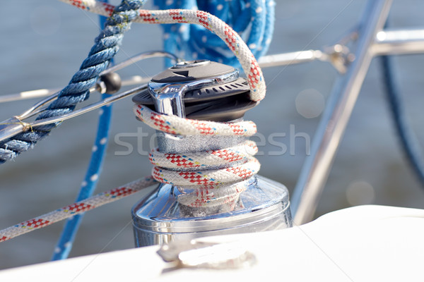 Stock photo: close up of mooring rope on sailboat or yacht