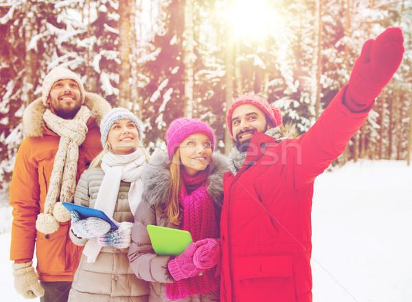 笑みを浮かべて 友達 冬 森林 技術 ストックフォト © dolgachov