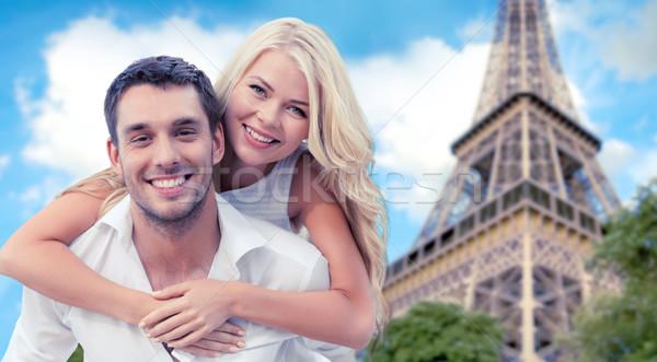 Boldog pár szórakozás Eiffel torony nyár Stock fotó © dolgachov