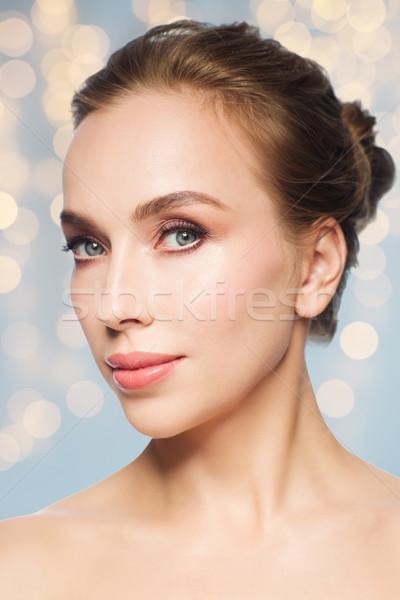 Gyönyörű fiatal nő arc fehér szépség emberek Stock fotó © dolgachov