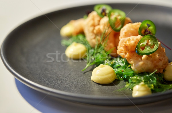 close up of prawn salad with jalapeno and wakame Stock photo © dolgachov