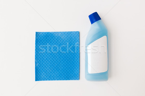 Garrafa detergente azul trapo branco limpeza Foto stock © dolgachov