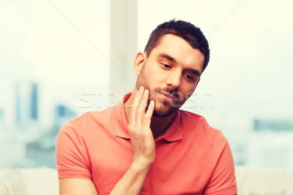 Infelice uomo sofferenza mal di denti home persone Foto d'archivio © dolgachov