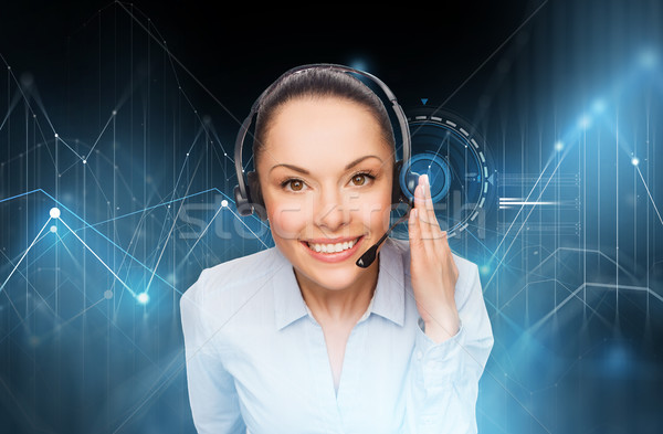 female helpline operator with headset Stock photo © dolgachov