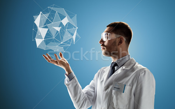 scientist in goggles with low poly projection Stock photo © dolgachov