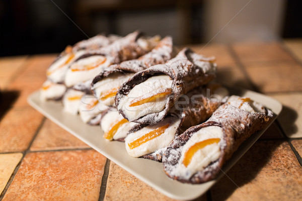 pastry on plate at bakery Stock photo © dolgachov