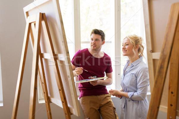 Paletta festőállvány művészet iskola kreativitás oktatás Stock fotó © dolgachov