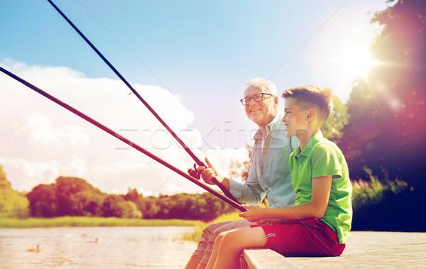 Photo stock: Grand-père · petit-fils · pêche · rivière · famille · génération