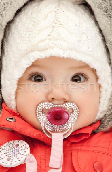 çok güzel bebek emzik parlak resim çocuk Stok fotoğraf © dolgachov