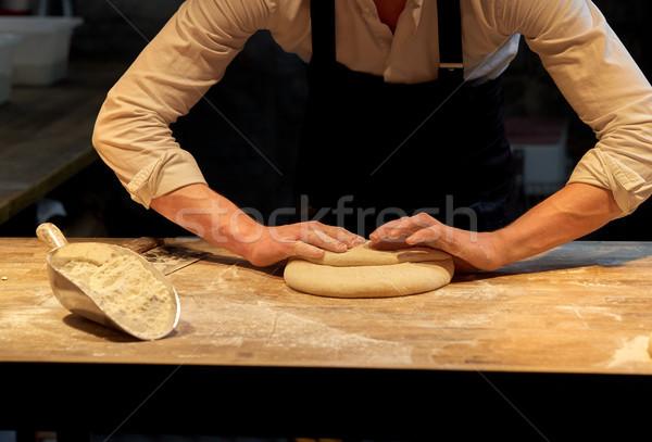 Pék készít kenyér pékség konyha étel Stock fotó © dolgachov