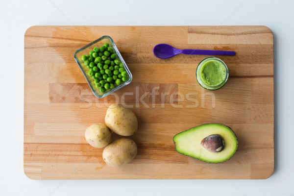 vegetable puree or baby food on wooden board Stock photo © dolgachov