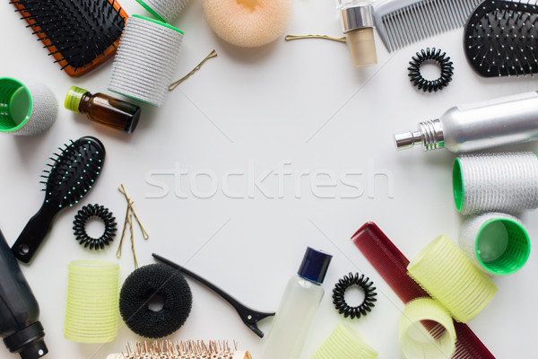 hair brushes, styling sprays, curlers and pins Stock photo © dolgachov