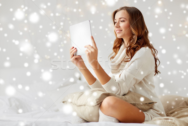 happy young woman with tablet pc in bed at home Stock photo © dolgachov