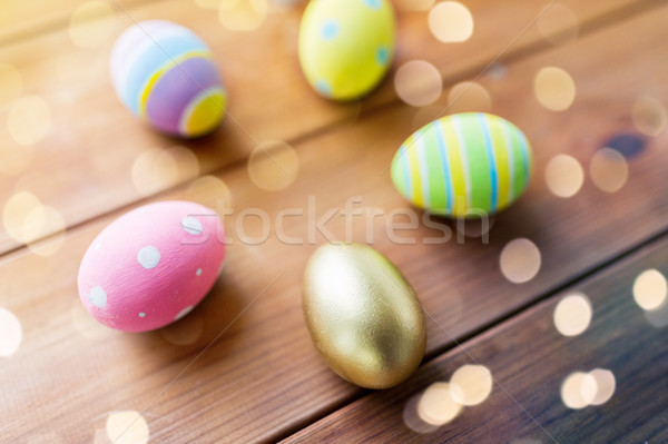 œufs de Pâques bois Pâques vacances Photo stock © dolgachov