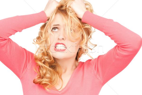 Stockfoto: Ongelukkig · vrouw · heldere · foto · witte · student