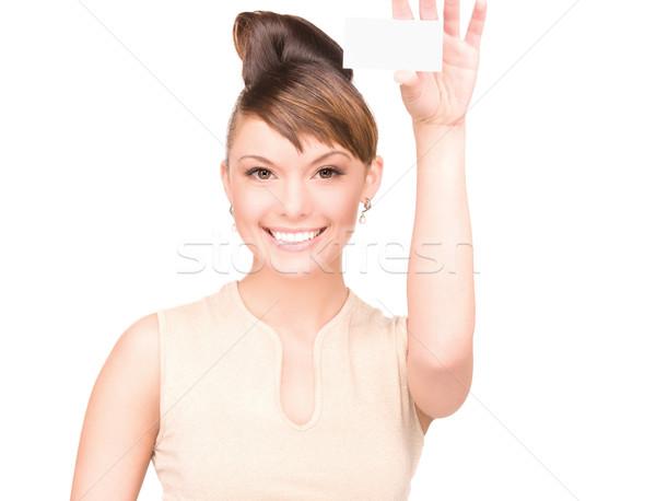 Сток-фото: счастливым · женщину · визитной · карточкой · белый · бизнеса · бумаги