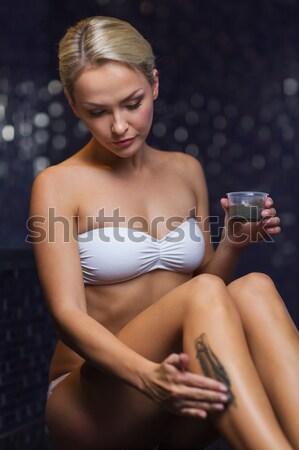 üstsüz kadın karanlık su resim vücut Stok fotoğraf © dolgachov