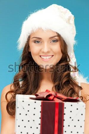 Yardımcı kız kadın iç çamaşırı hediye kutusu resim Stok fotoğraf © dolgachov