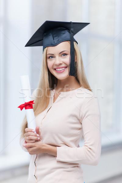 öğrenci mezuniyet kapak sertifika mutlu kadın Stok fotoğraf © dolgachov