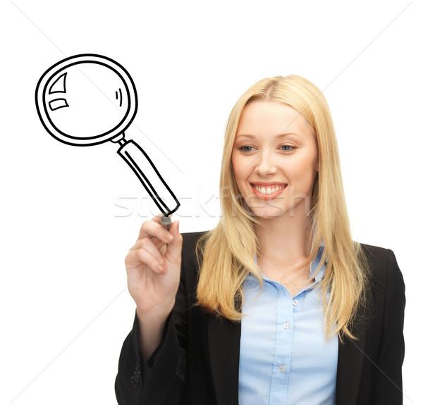 Nő rajz nagyító oktatás tudomány keresés Stock fotó © dolgachov