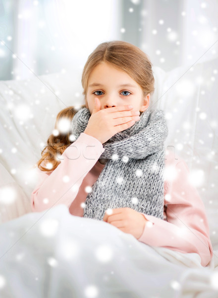 ill girl with flu at home Stock photo © dolgachov