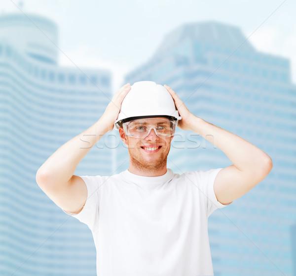 男性 建築 ヘルメット 保護眼鏡 建物 開発 ストックフォト © dolgachov