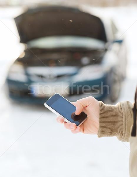 Photo stock: Homme · voiture · cassée · cellule · transport · hiver