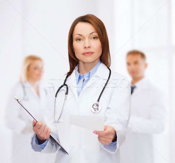 Foto stock: Feminino · médico · clipboard · saúde · medicina