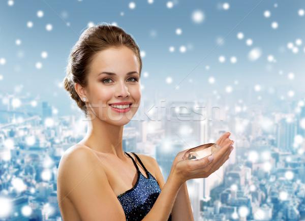 Donna sorridente abito da sera diamante persone vacanze Natale Foto d'archivio © dolgachov